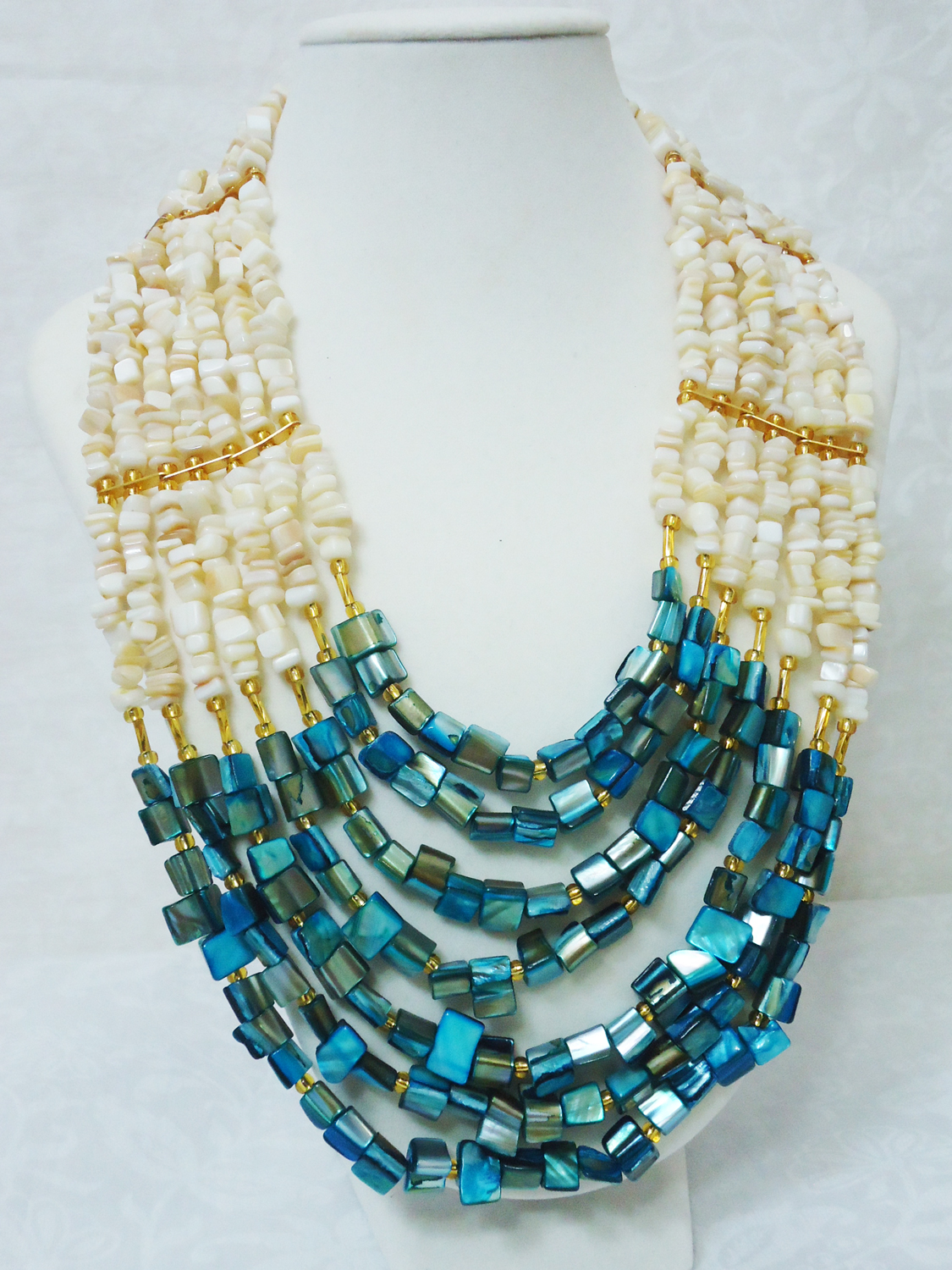 Nneka Mother Of Pearl Beaded Statement Necklace Set