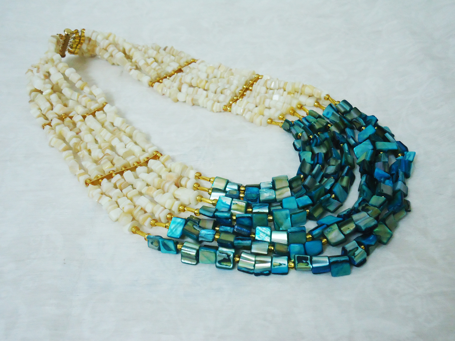 Nneka - Mother-Of-Pearl Beaded Statement Necklace Set   HauteCorals