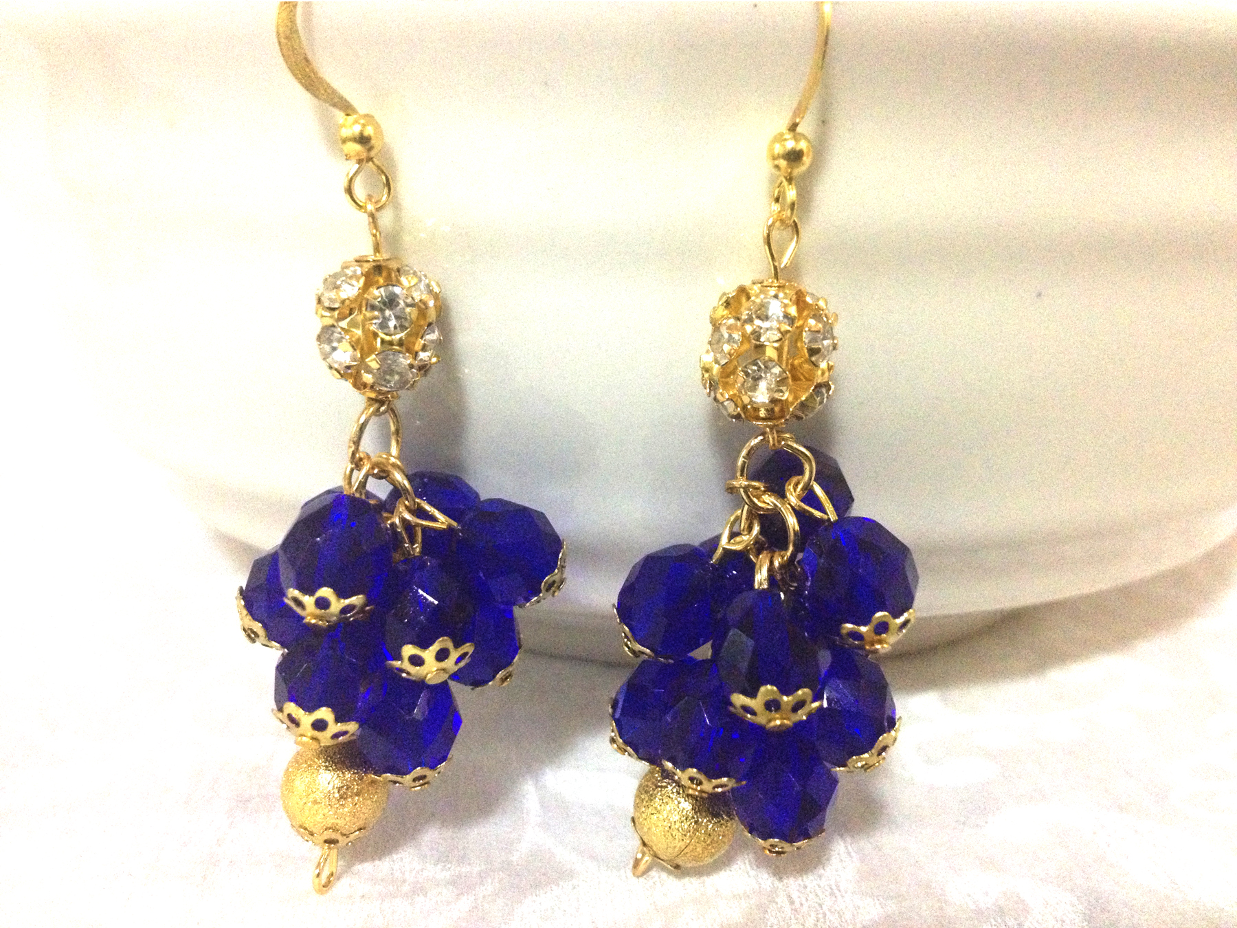 akuchi cobalt blue and gold cluster earrings hautecorals