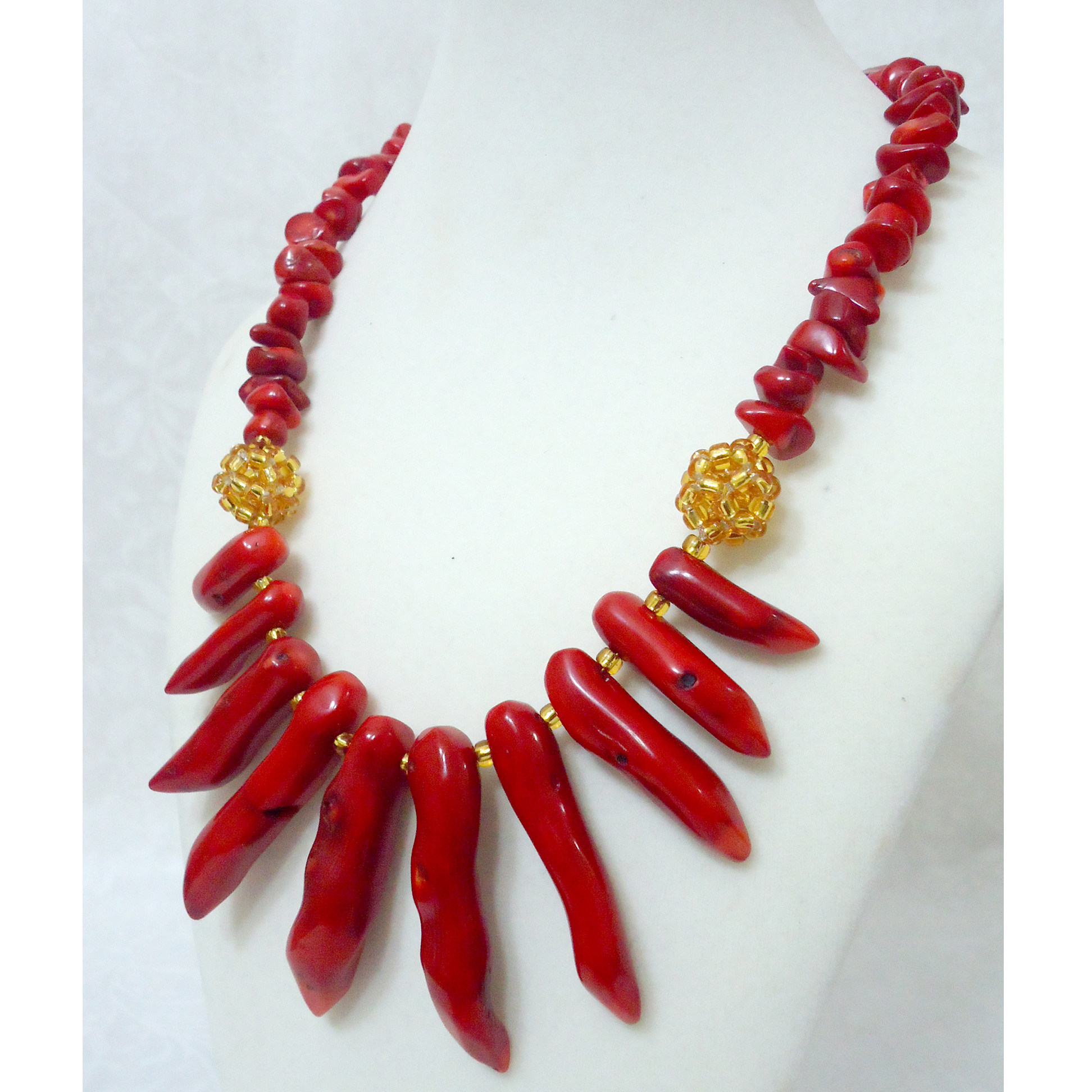 Adaoma - Red Pepper Coral and Gold Beaded Statement Necklace ...