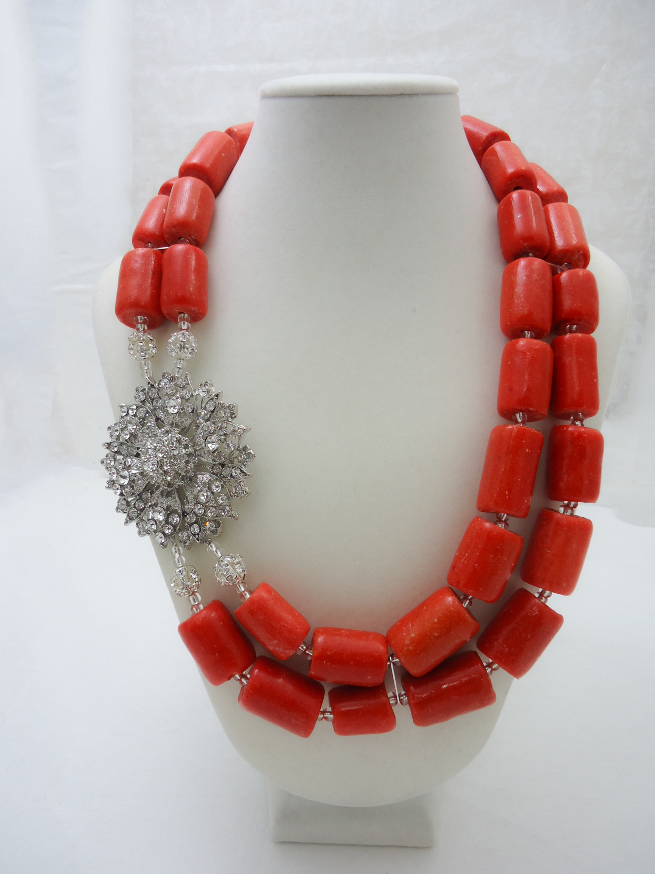 Red Coral Home Decor Adaugo Traditional Coral Beaded Necklace Set Hautecorals