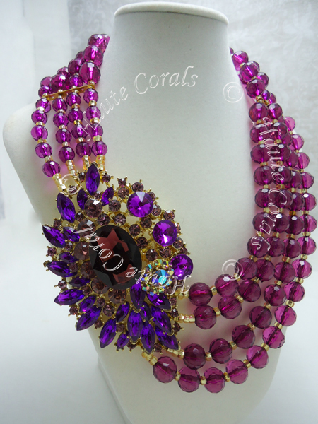 The Uju Purple Rhinestone Beaded Statement Necklace