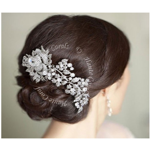 Ulunma Rose Flower Austrian Crystal Bridal Hair Comb Hautecorals