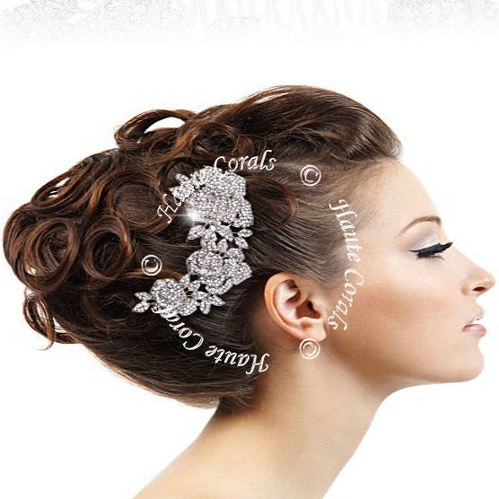 Somto Vintage Style Rhinestone Rose Flower Bridal Hair Comb