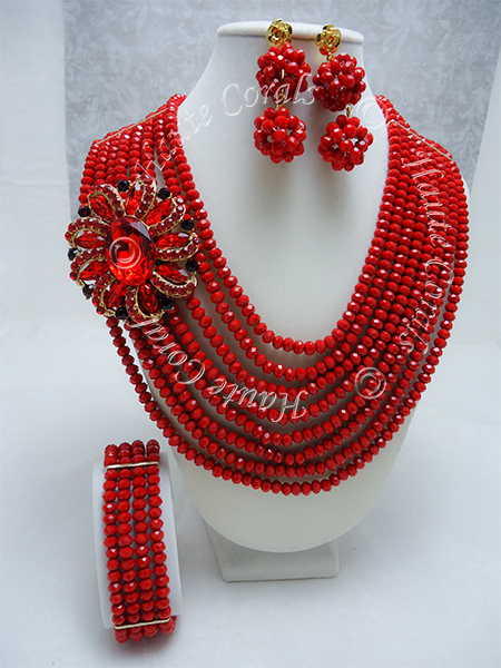 glass beads necklace, Red and black statement necklace