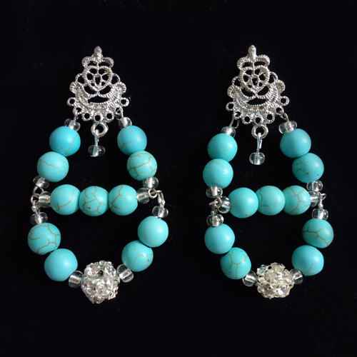 Magnesite Beads earrings, Handmade jewelry, turquoise beads statement earrings, tribal accessories, tribal glam, tribal jewelry, Magnesite Beads chandelier earrings, Magnesite Beads statement earrings, African accessories, Nigerian Wedding beads, Nigerian engagement beads, Nigerian traditional wedding beads, Coral Jewelry sets, African Bridal Jewelry set, Nigerian beads, traditional engagement beads, African accessories, Magnesite Beads bridesmaid earrings