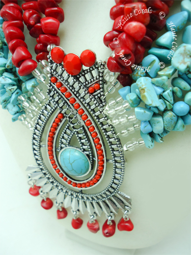 boho necklace, boho chic necklace, Handmade jewelry, tribal accessories, tribal glam, tribal jewelry, red coral beads statement necklace, layered statement necklace, multistrand statement necklace, turquoise beads statement necklace, statement necklace under 100, vintage statement necklace, beaded statement necklace, African accessories, unique statement necklace, beaded statement necklace, Nigerian Wedding beads, zahara, turquoise statement necklace, Nigerian engagement beads, Nigerian traditional wedding beads, brooch statement necklace, African Bridal Jewelry set, traditional engagement beads, traditional wedding beads, HauteCorals, red bridesmaid beaded statement necklace